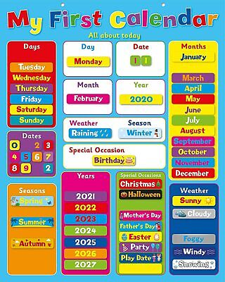 My First Magnetic Calendar/ Childrens Kids Magnetic Calendar And Weather Chart • 14.99£