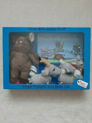 THE PUPPET COMPANY THE 3 Billy Goats Gruff & Troll Puppets & Book -VGC With Box • 16£