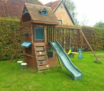 Wooden Climbing Frame Selwood Ridgeview Deluxe Playhouse Slide Swings Monkey Bar • 102£