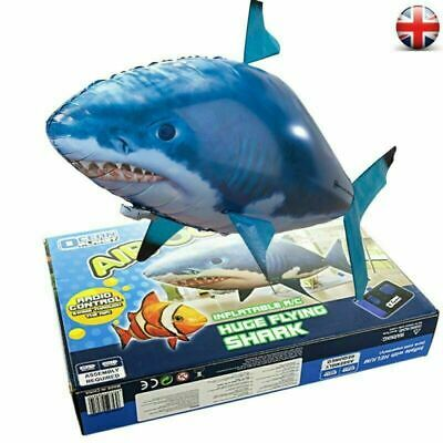 Remote Control Inflatable Balloon Air Swimmer Flying Shark Fish Radio Blimp FREE • 12.49£
