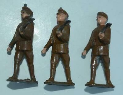 VINTAGE LEAD SOLDIERS - 3 X MARCHING - BROWN       Q • 1.31£