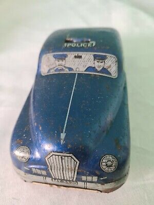 Mettoy Tin Plate Police Car Made In Great Britain Vintage Toy • 48£