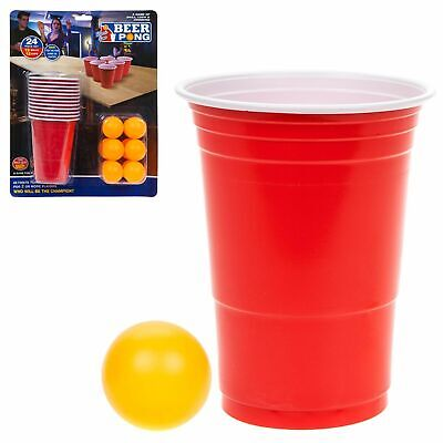 24Pcs BEER PONG SET Drinking Game Alcohol American Red Cup Beer Pong Frat Party • 5.99£