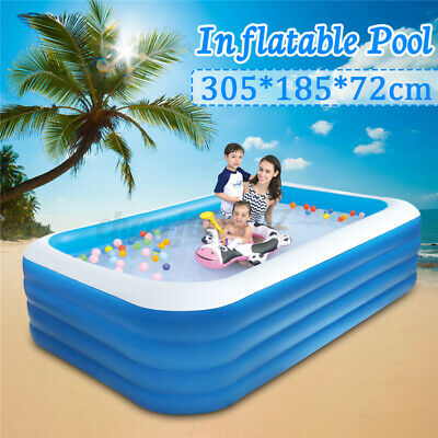 305CM INFLATABLE PADDLING GARDEN POOL KIDS FUN FAMILY SWIMMING OUTDOOR 4 Layers • 30.99£