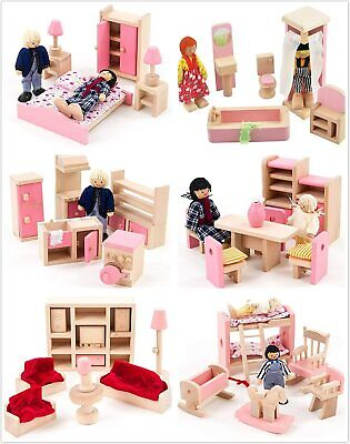 Wooden Dolls House Furniture 6 Set Room ,Living Room With Family People Dolls UK • 40.63£