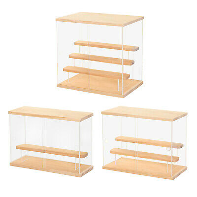 Large Acrylic Display Case Dustproof Protective Box Wood Base For Figures • 28.62£