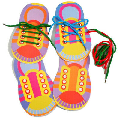 1 X Learn To Lace Tie Shoes Practice Lacing Learning Shoe Children's Shoelace • 3.39£