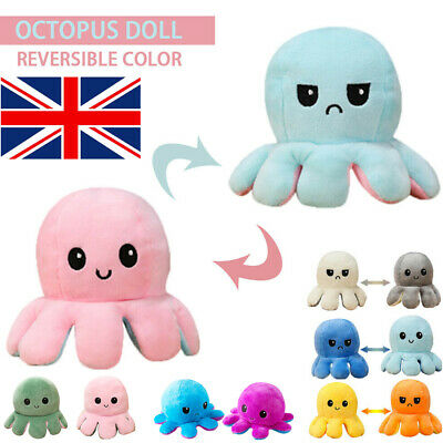 UK Double Sided Flip Reversible Octopus Plush Toy Marine Life Squid Stuffed Doll • 5.57£