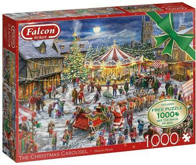 Jumbo Falcon De Luxe The Christmas Town And Carousel Jigsaw Puzzle 2x1000 Pieces • 15.29£