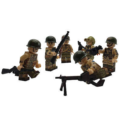 6 X WW2 American Figure High Quality Printed Parts Brick Arms UK STOCK • 20.39£