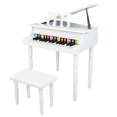 30 Key Kids Wooden Keyboard Mini Grand Piano Stool Musical Toy White • 58.99£