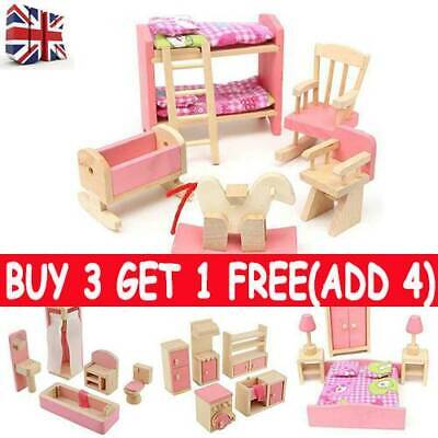 Dolls House Furniture Wooden Set Miniature 7 Room People Doll Toys Kids Play UK • 8.49£