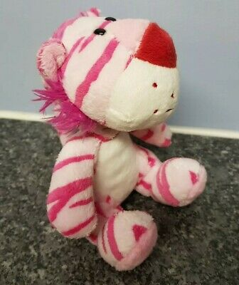 Pink Tiger Cat Bobble Wobbly Head Soft Toy Plush Stuffed Bean Spring 14cm • 5£