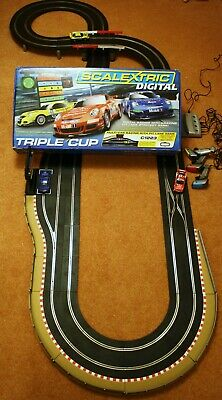 Huge Extended DIGITAL Scalextric S TRIPLE CUP With Pit Lane Game • 139£