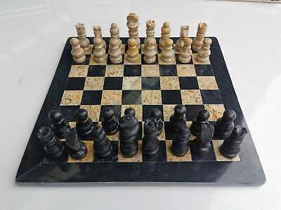 """16"""" Chess Set Fossil Made Of Marble Stone, Handmade, Onyx Stone, Cream And Black • 135.86£"""