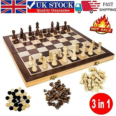 New Large Chess Wooden Set Folding Chessboard Pieces Wood Board Game UK HOT • 32.47£
