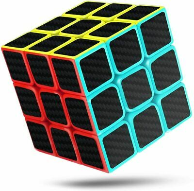 Carbon Fiber Sticker 3X3 Cube Smooth Speed Puzzle Toy Memory Game Kids & Adults • 6.25£