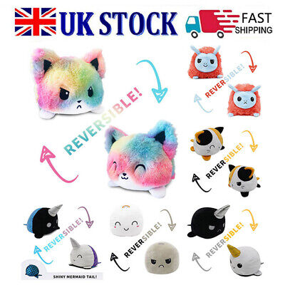 Double-Sided Flip Reversible Cat Plush Toys Cartoon Plush Toy Doll Gifts • 4.37£