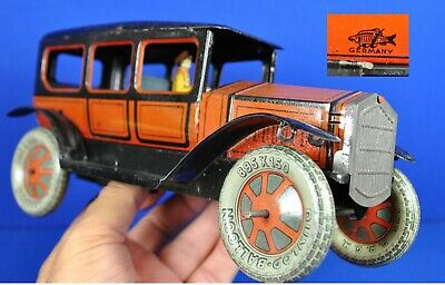German Tinplate Lithographed Clockwork Car With Chauffeur By Fischer C1925  • 465£