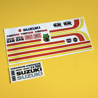 RC STRIPE AND METALLIC BADGE Sticker Decal Set For WPL D12 SUZUKI CARRY  • 9.95£