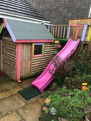 Childrens Wooden Garden Playhouse With Platform And Slide. • 50£