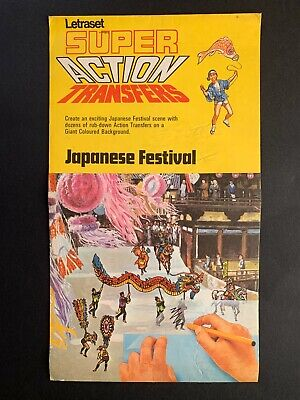 LETRASET SUPER ACTION TRANSFERS - JAPANESE FESTIVAL - 1969 + Transfers To Apply • 8.50£