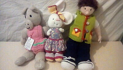 Hand Knitted Home Made. Three Characters Pig. Rabbit. Boy. • 15£