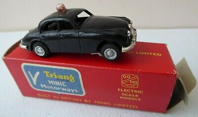 Triang Minic Motorways M1552 Black Jaguar Police Car With Flashing Light Boxed!! • 34.99£