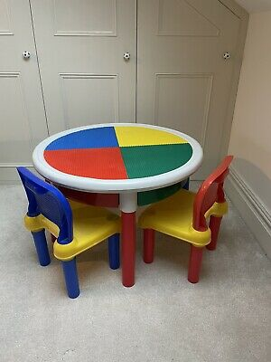 Lego Table & 2 Chairs With 4 Storage Drawers Blue Yellow Green Red • 35£