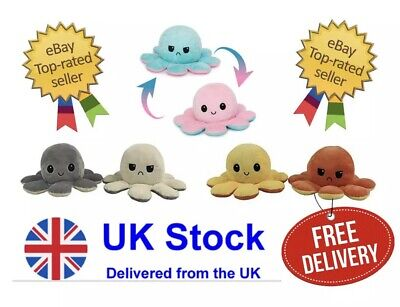 Mood Octopus Reversible Plushie TIK TOK Cute Gift Baby Toy Flip Octopus Plush UK • 6.99£