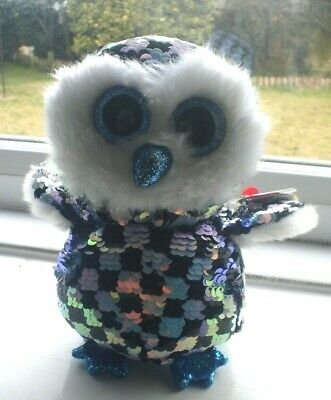 Ty Beanie Babies Flippables 36348 Topper The Owl Sequined • 4.99£