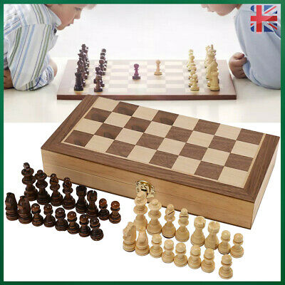 Large Chess Wooden Set Folding Chessboard Magnetic Pieces Wood Board UK • 12.59£