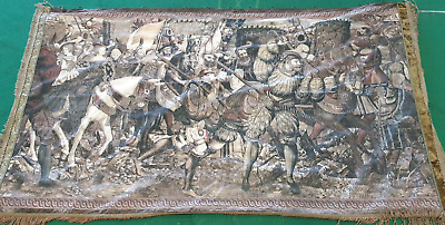 Very Large Tapestry Banner Renaissance Battle Scene Knights Ladies Tudor • 450£