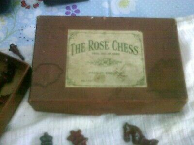 Vintage The Rose Lead Chess Set Complete In Box 1940 • 20£