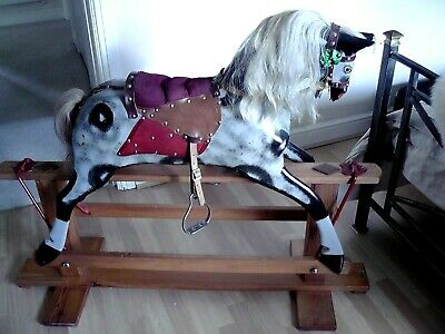 Vintage Traditional English Handmade Wooden Dapple Grey Rocking Horse 1980's • 860£