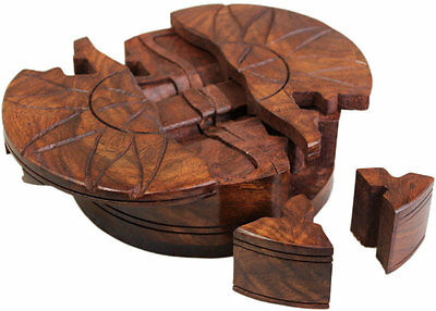 Handmade Wooden Puzzle Trinket Box Wood Gift Idea Secret Compartment Bali India • 14.95£