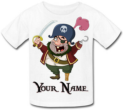 Pirate Personalised Kids T-shirt Great Gift For Any Child & Named Too • 9.99£