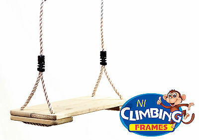 Wooden Swing Seat (Treated Timber)Climbing Frame Set Tree Outdoor Playhouse • 18.99£