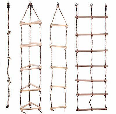 Kids Wooden Rope Ladder Climbing Rope For Timber Climbing Frame Selection! • 12.99£