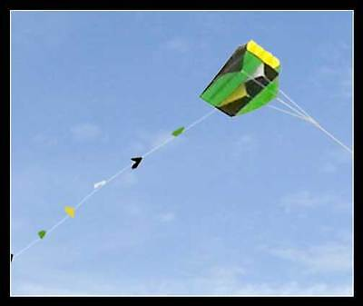 Single Line Parafoil Pocket Kite & Long Tail In Pouch Easy Fly Outdoor Fun Green • 4.99£