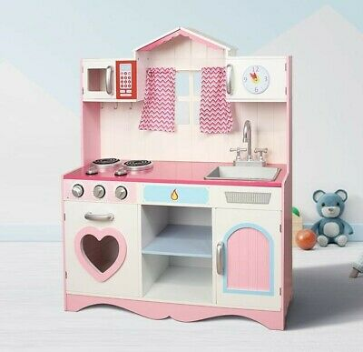 MCC® Large Girls Kids Pink Wooden Play Kitchen Children's Play Pretend Set Toy • 62.99£