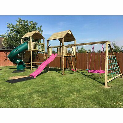 CHICAGO, Children Outdoor Fun Playhouse, Climbing Frame, Tube Slide, Monkey Bars • 2,265£