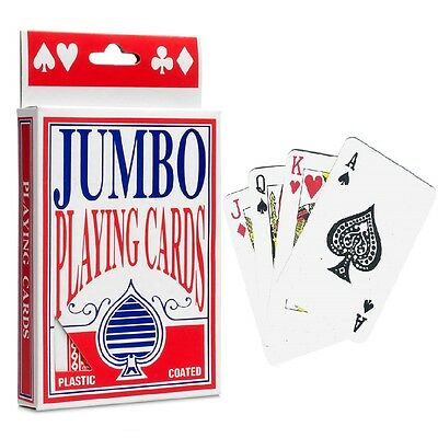 JUMBO Plastic Coated Large 54 Playing Cards Deck Poker Game • 2.49£