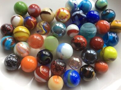 40 COLOURFUL GLASS MARBLES A Mixture Of The World's Best 14mm & 16mm Game Play • 6£