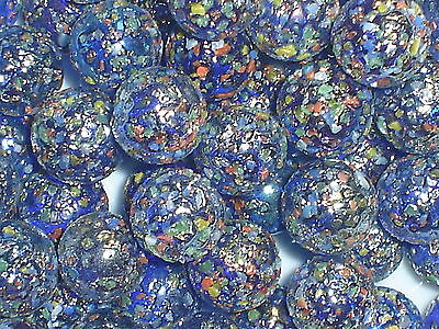 25 X 16mm GLITTER BOMB GLASS MARBLES  Clear Blue Game Play Solitaire Party Bags • 2.80£
