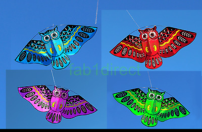 Qwl Kite Childrens Single Line Kite,large Owl Cartoon Outdoor Activity 4 Colours • 8.99£