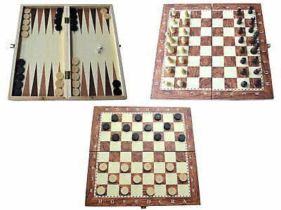 Wooden Board Game Set Compendium Travel Games Chess Backgammon Draughts • 9.99£
