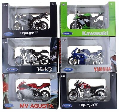 Welly Die Cast 1:18 Scale Motorcycle Model In Box Choice Of 6 Motorbikes Gift • 7.99£