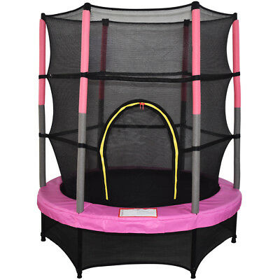 4.5FT 55  Kids Trampoline With Safety Net Enclosure Garden Outdoor Toy Pink • 102.95£