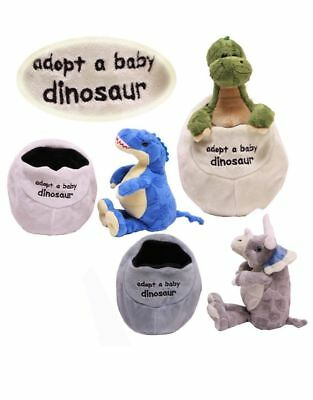 Adopt A Baby Dinosaur In Egg Soft Plush Cuddly Toy Great Gift For Kids Teddy • 7.49£